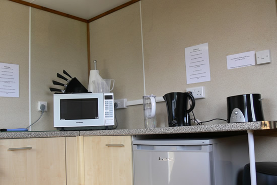 Shared kitchen at Glamping holidays at Penbugle Organic Farm