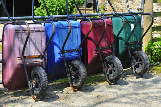 Wheelbarrows provided to help transport equipment