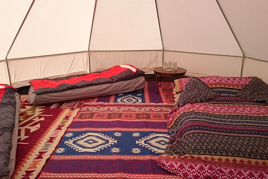 Glamping in bell tents at penbugle organic farm